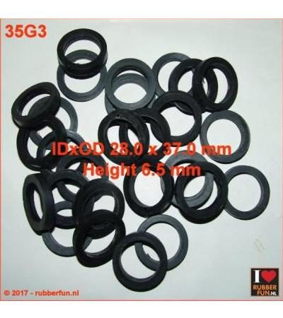 RUBBER RING 28X37 MM IDXOD, 6.5 MM HEIGHT - SPARE PART GAS MASK HOSE