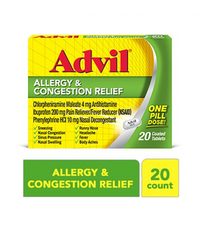 Advil Allergy & Congestion Relief, Pain & Fever Reducer (20 ct.)