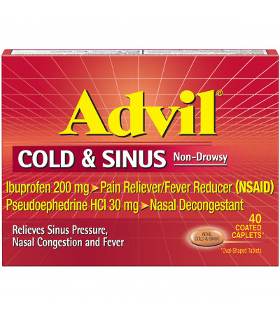 Advil® Cold & Sinus Non-Drowsy Pain Reliever/Fever Reducer & Decongestant Coated Caplets 40 ct Box
